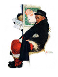 """See Him at Drysdales"" (Santa on train), December 28,1940 Reproduction procédé giclée par Norman Rockwell"
