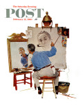 """Triple Self-Portrait"" Saturday Evening Post Cover, February 13,1960 Giclée-Druck von Norman Rockwell"