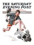 """Runaway Pants"" Saturday Evening Post Cover, August 9,1919 Stampa giclée di Norman Rockwell"