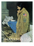 """Refugee Thanksgiving"", November 27,1943 Reproduction procédé giclée par Norman Rockwell"
