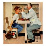 """At the Optometrist"" or ""Eye Doctor"", May 19,1956 Giclee-trykk av Norman Rockwell"