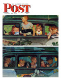 &quot;Outing&quot; or &quot;Coming and Going&quot; Saturday Evening Post Cover, August 30,1947 Giclee Print by Norman Rockwell