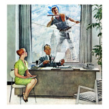 """Window Washer"", September 17,1960 Giclee Print by Norman Rockwell"