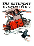 """Look Out Below"" or ""Downhill Daring"" Saturday Evening Post Cover, January 9,1926 Reproduction procédé giclée par Norman Rockwell"
