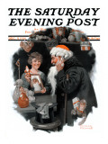 """Playing Santa"" Saturday Evening Post Cover, December 9,1916 Giclee Print by Norman Rockwell"