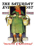 """Merrie Christmas"" Saturday Evening Post Cover, December 10,1932 Giclee Print by Norman Rockwell"