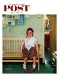 """""""Shiner"""" or """"Outside the Principal's Office"""" Saturday Evening Post Cover, May 23,1953 Giclée-Druck von Norman Rockwell"""