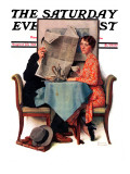 """Breakfast Table"" or ""Behind the Newspaper"" Saturday Evening Post Cover, August 23,1930 Giclee Print by Norman Rockwell"
