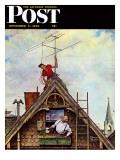 """New T.V. Set"" Saturday Evening Post Cover, November 5,1949 Reproduction procédé giclée par Norman Rockwell"