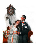 """Courting under the Clock at Midnight"", March 22,1919 Reproduction procédé giclée par Norman Rockwell"