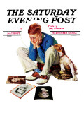 """Boy Gazing at Cover Girls"" Saturday Evening Post Cover, September 22,1934 Giclee Print by Norman Rockwell"