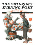 """Circus"" or ""Meeting the Clown"" Saturday Evening Post Cover, May 18,1918 Giclee Print by Norman Rockwell"
