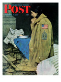 """Refugee Thanksgiving"" Saturday Evening Post Cover, November 27,1943 Reproduction procédé giclée par Norman Rockwell"
