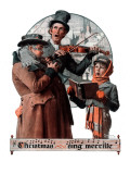 """Christmas Trio"" or ""Sing Merrille"", December 8,1923 Giclee Print by Norman Rockwell"