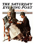 """""""Crossword Puzzle"""" Saturday Evening Post Cover, January 31,1925 Impression giclée par Norman Rockwell"""