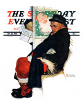 """See Him at Drysdales"" (Santa on train) Saturday Evening Post Cover, December 28,1940 Giclee Print by Norman Rockwell"