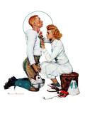 """""""Letter Sweater"""" (boy & girl), November 19,1938 Giclée-trykk av Norman Rockwell"""