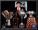 Alexander Ovechkin with 2008 Hart Trophy, Pearson Award, Ross Trophy &amp; the Rocket Trophy Posters