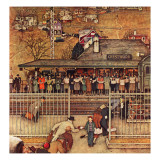 """Commuters"" (waiting at Crestwood train station), November 16,1946 Giclée-Druck von Norman Rockwell"
