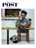 """Lion and His Keeper"" Saturday Evening Post Cover, January 9,1954 Giclee Print by Norman Rockwell"
