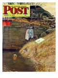 &quot;Swimming Hole&quot; Saturday Evening Post Cover, August 11,1945 Giclee Print by Norman Rockwell