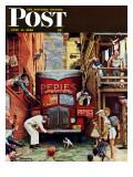 Rua bloqueada, Road Block, capa do Saturday Evening Post, 9 de julho de 1949 Impressão giclée por Norman Rockwell
