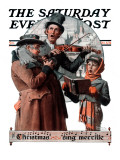 """Christmas Trio"" or ""Sing Merrille"" Saturday Evening Post Cover, December 8,1923 Giclee Print by Norman Rockwell"