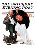 """Halloween"" Saturday Evening Post Cover, October 23,1920 Reproduction procédé giclée par Norman Rockwell"