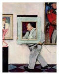 """Picture Hanger"" or ""Museum Worker"", March 2,1946 Giclee Print by Norman Rockwell"