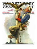 """Gilding the Eagle"" or ""Painting the Flagpole"" Saturday Evening Post Cover, May 26,1928 Giclee Print by Norman Rockwell"