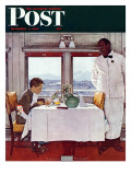"""New York Central Diner"" Saturday Evening Post Cover, December 7,1946 Reproduction procédé giclée par Norman Rockwell"