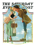 &quot;Milkmaid&quot; Saturday Evening Post Cover, July 25,1931 Giclee Print by Norman Rockwell