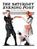 &quot;Playing Party Games&quot; Saturday Evening Post Cover, April 26,1919 Giclee Print by Norman Rockwell