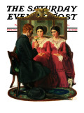 """Man Courting Two Sisters"" Saturday Evening Post Cover, May 4,1929 Giclee Print by Norman Rockwell"