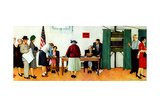 """Norman Rockwell Paints America at the Polls"", November 4,1944 Giclee Print by Norman Rockwell"