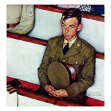 """Willie Gillis in Church"", July 25,1942 Giclee Print by Norman Rockwell"