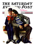 """Plot Thickens"" Saturday Evening Post Cover, March 12,1927 Giclee Print by Norman Rockwell"