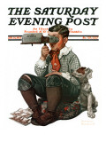 """Stereopticon"" or ""Sphinx"" Saturday Evening Post Cover, January 14,1922 Impression giclée par Norman Rockwell"