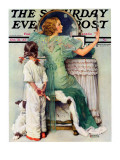 """Going Out"" Saturday Evening Post Cover, October 21,1933 Reproduction procédé giclée par Norman Rockwell"