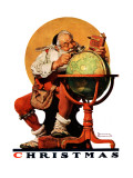 """Santa at the Globe"", December 4,1926 Reproduction procédé giclée par Norman Rockwell"