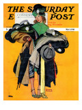 """Hatcheck Girl"" Saturday Evening Post Cover, May 3,1941 Giclee Print by Norman Rockwell"