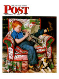 """Trumpeter"" Saturday Evening Post Cover, November 18,1950 Reproduction procédé giclée par Norman Rockwell"