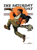 """Fleeing Hobo"" Saturday Evening Post Cover, August 18,1928 Giclee Print by Norman Rockwell"