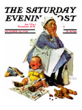 """Exasperated Nanny"" Saturday Evening Post Cover, October 24,1936 Giclee Print by Norman Rockwell"