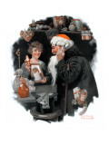 """Playing Santa"", December 9,1916 Giclee Print by Norman Rockwell"