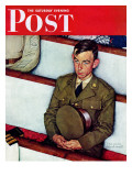 """Willie Gillis in Church"" Saturday Evening Post Cover, July 25,1942 Reproduction procédé giclée par Norman Rockwell"