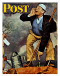 """First Flower"" or ""First Crocus"" Saturday Evening Post Cover, March 22,1947 Giclee Print by Norman Rockwell"