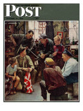 """Homecoming Marine"" Saturday Evening Post Cover, October 13,1945 Giclée-Druck von Norman Rockwell"