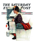 """Airplane Trip"" or ""First Flight"" Saturday Evening Post Cover, June 4,1938 Giclee Print by Norman Rockwell"