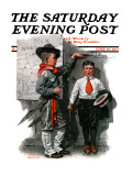 """Necessary Height"" Saturday Evening Post Cover, June 16,1917 Giclee Print by Norman Rockwell"